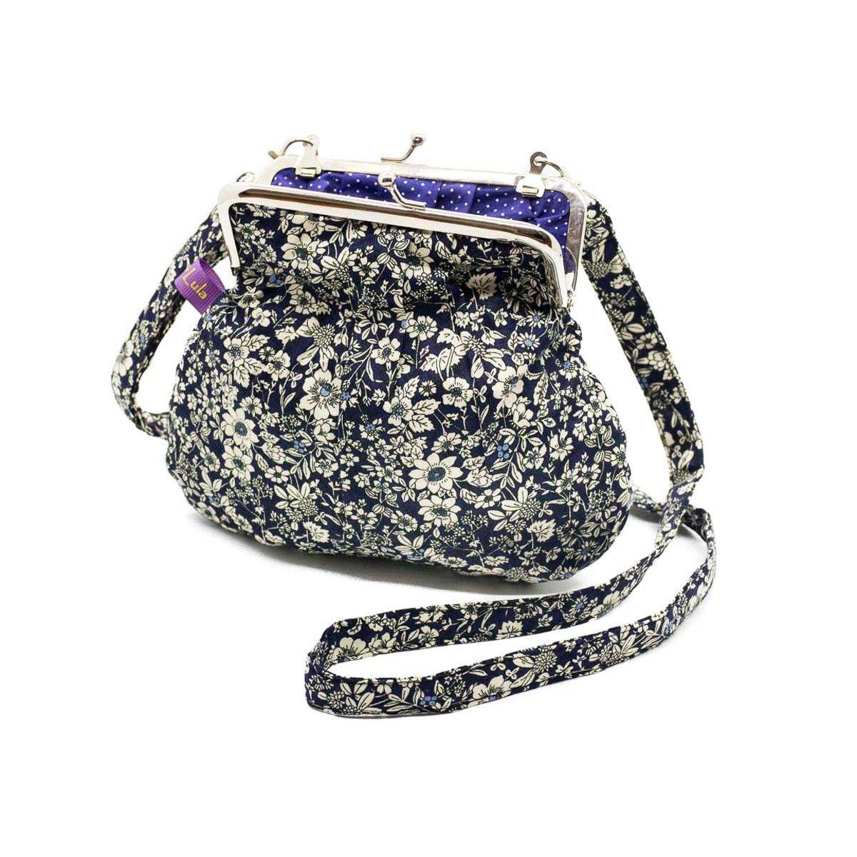 Petit sac rétro à clip coton bleu marine et fleurs blanches