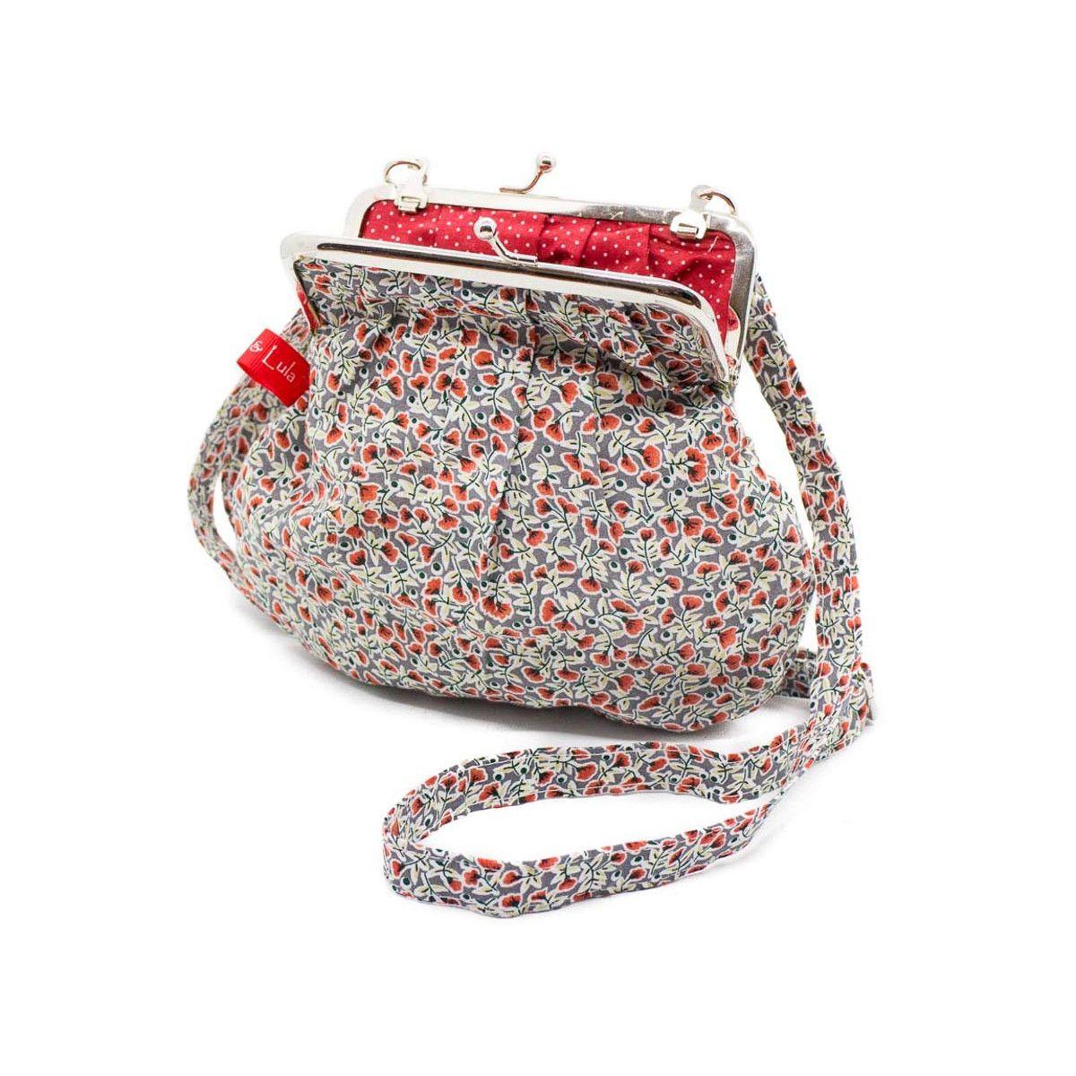 Petit sac rétro à clip coton gris et fleurs rouge