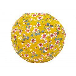 Lampion tissu boule japonaise mini rond jaune moutarde et fleurs cerisiers