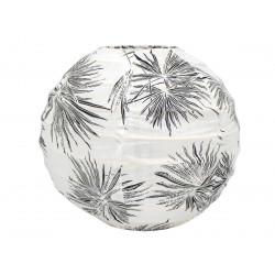 Lampion tissu boule japonaise mini rond blanc et feuilles noires