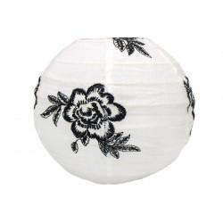 Lampion tissu boule japonaise mini rond blanc et roses noires brodées