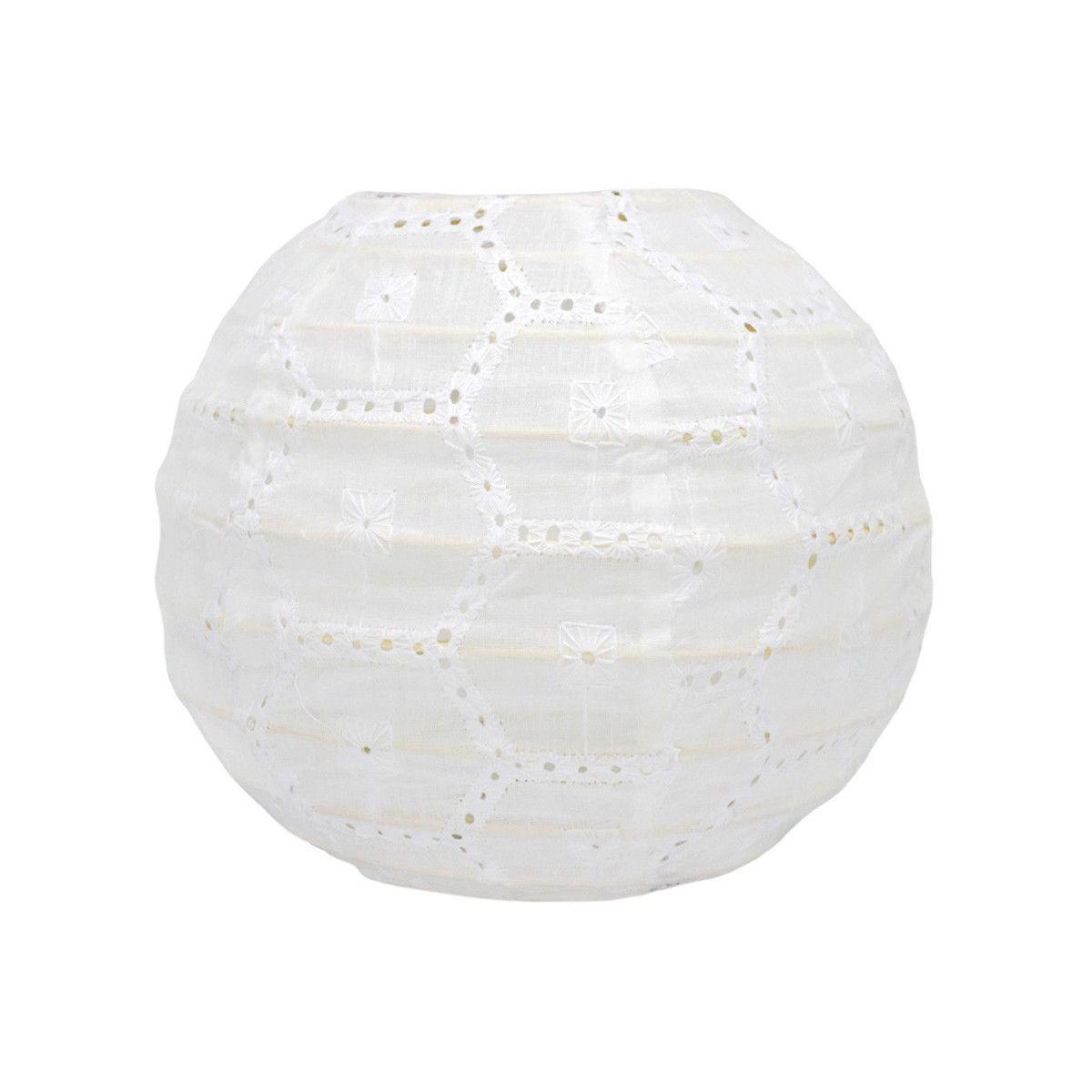 Lampion tissu boule japonaise mini rond blanc ajouré