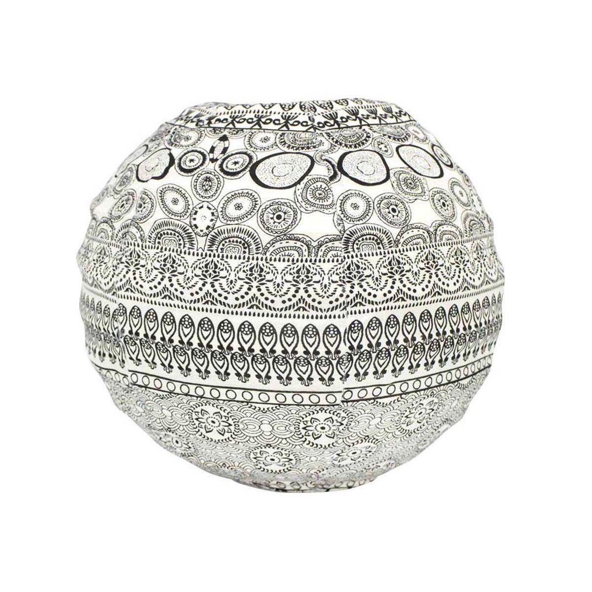 Lampion tissu boule japonaise mini rond noir et blanc