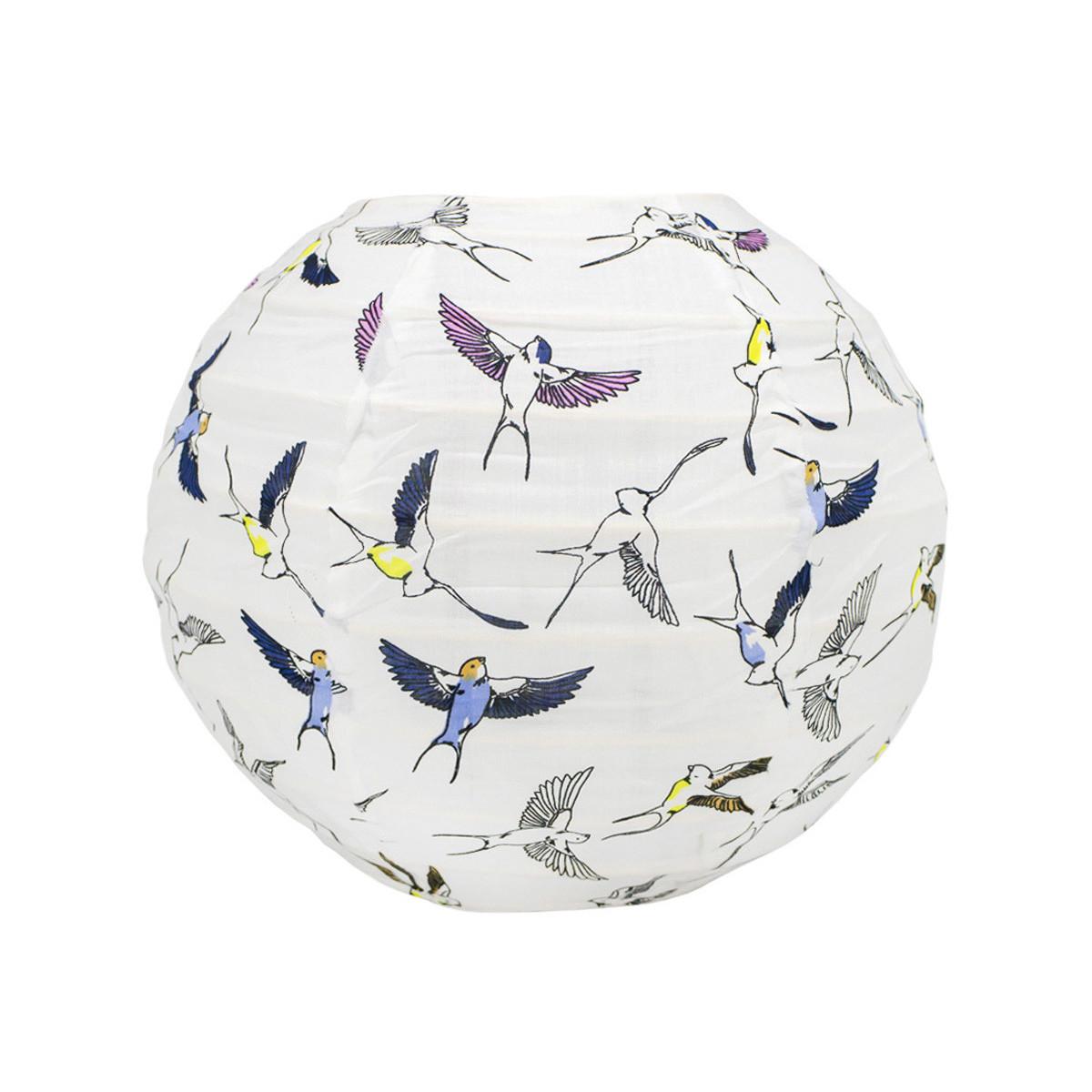 Lampion tissu boule japonaise mini rond blanc et oiseaux