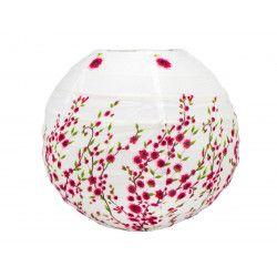Lampion tissu boule japonaise mini rond blanc et fleurs rose framboise