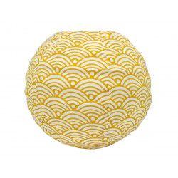 Lampion tissu boule japonaise mini rond jaune moutarde