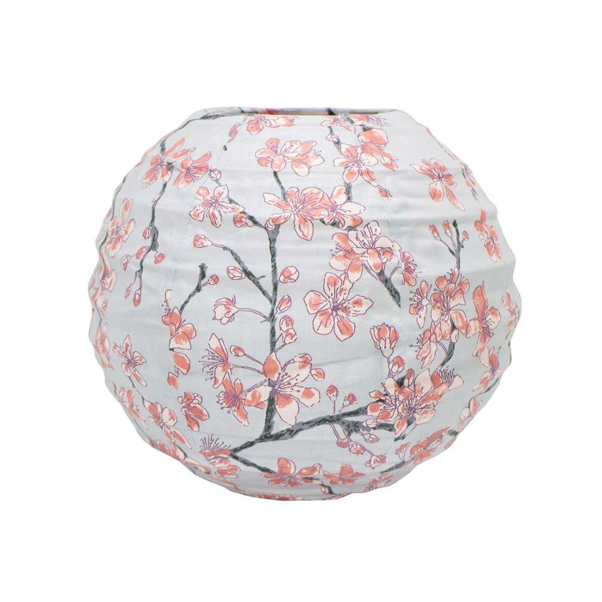 Lampion tissu boule japonaise mini rond gris perle et fleurs