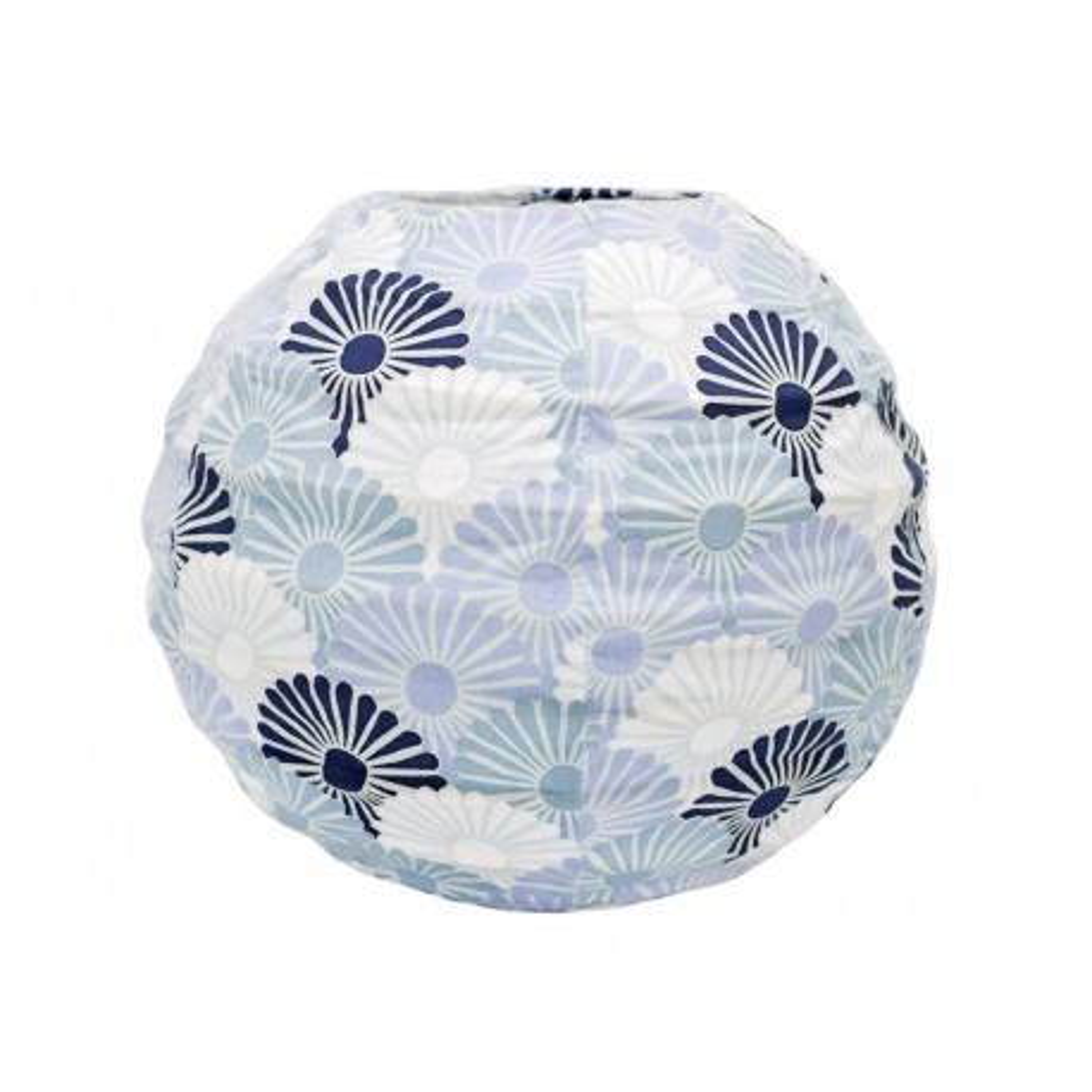 Lampion tissu boule japonaise mini rond bleus clair et foncé