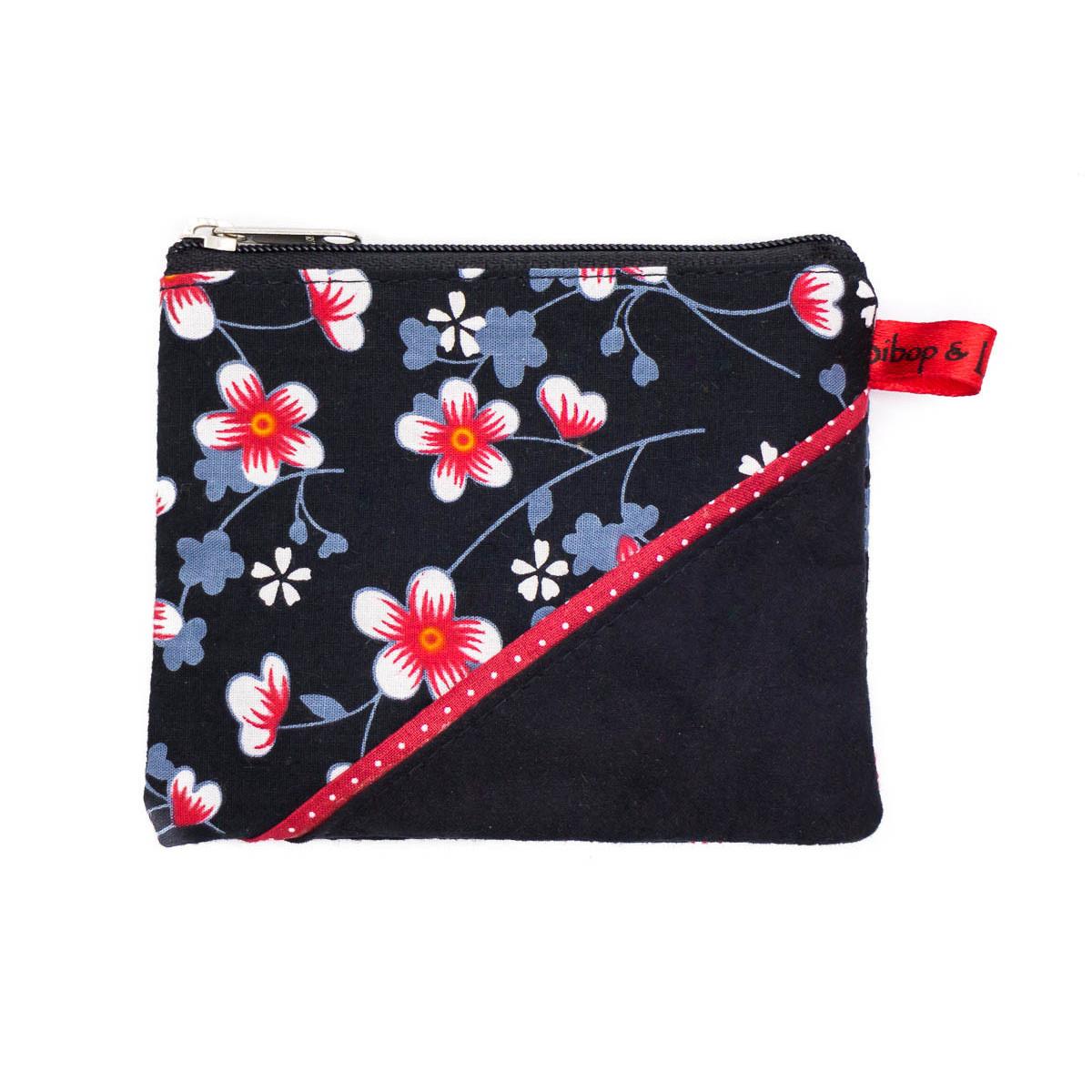 Petit porte-monnaie zippé noir et fleurs de cerisiers