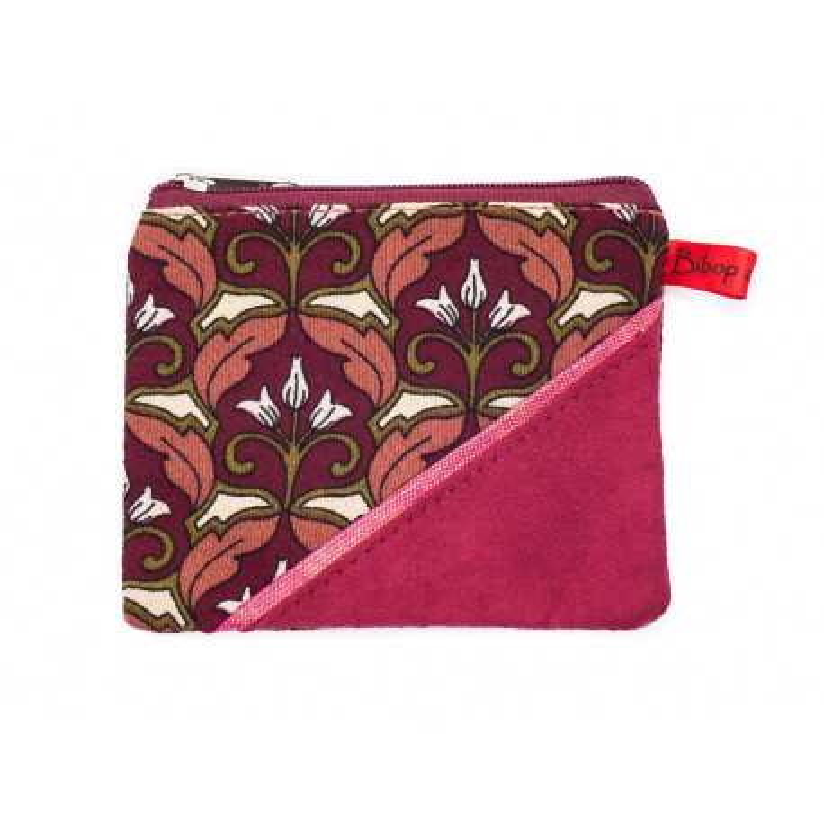 Petit porte-monnaie zippé rose framboise