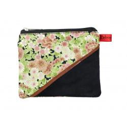 Petit porte-monnaie zippé noir et fleurs rose verte