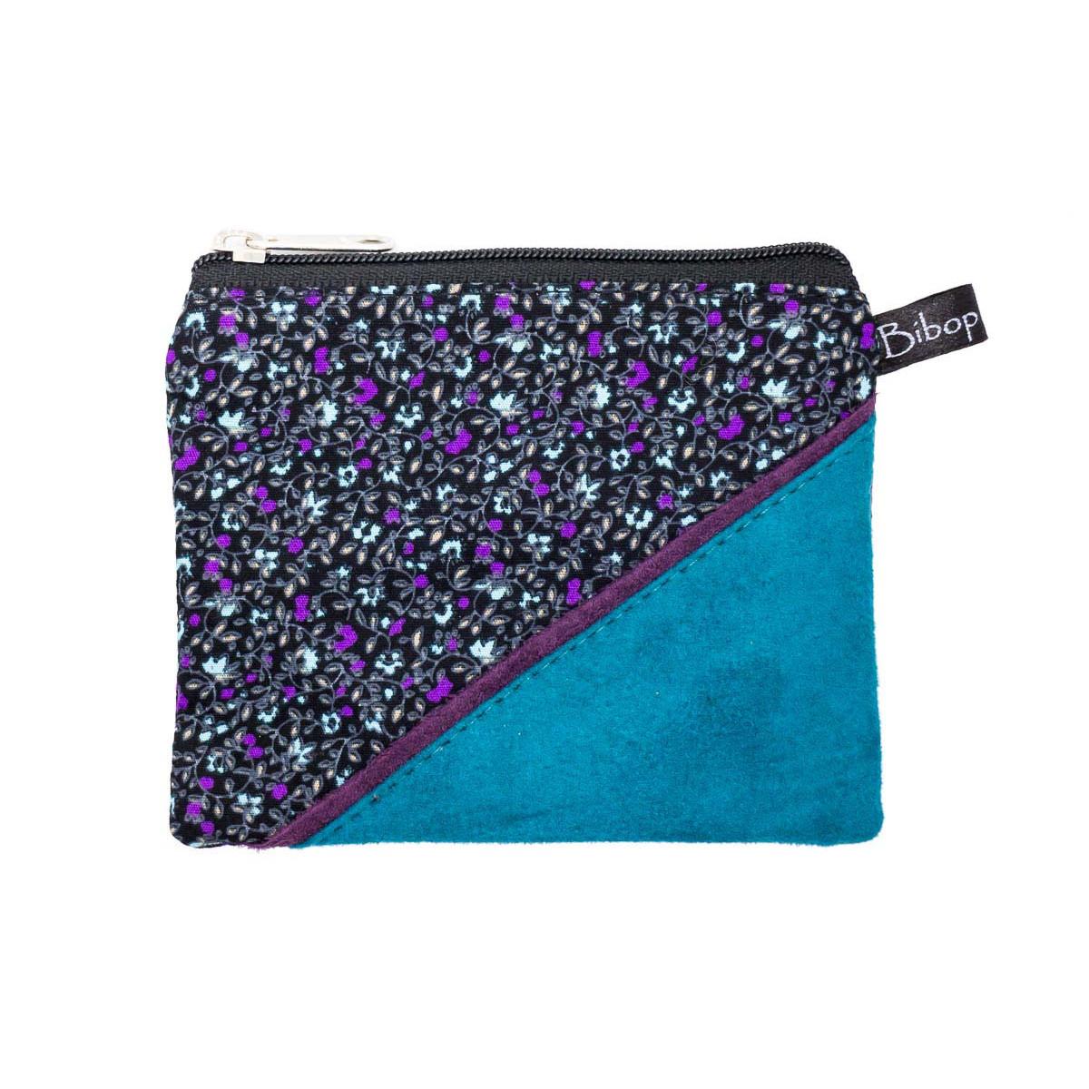 Petit porte-monnaie zippé bleu canard et fleurs violet