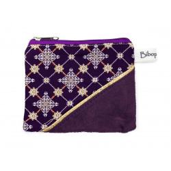 Petit porte-monnaie zippé violet prune
