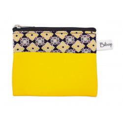 Petit porte-monnaie vegan zippé jaune et motifs bleus