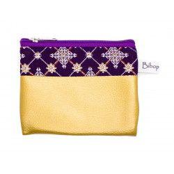 Petit porte-monnaie vegan zippé violet prune et or gold