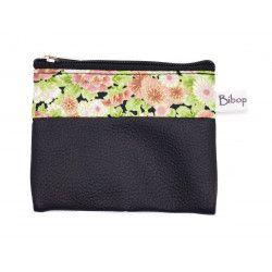 Petit porte-monnaie vegan zippé noir et fleurs