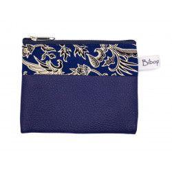 Petit porte-monnaie vegan zippé bleu
