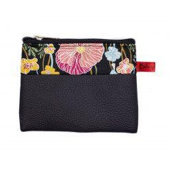 Petit porte-monnaie vegan zippé noir et fleur coquelicot