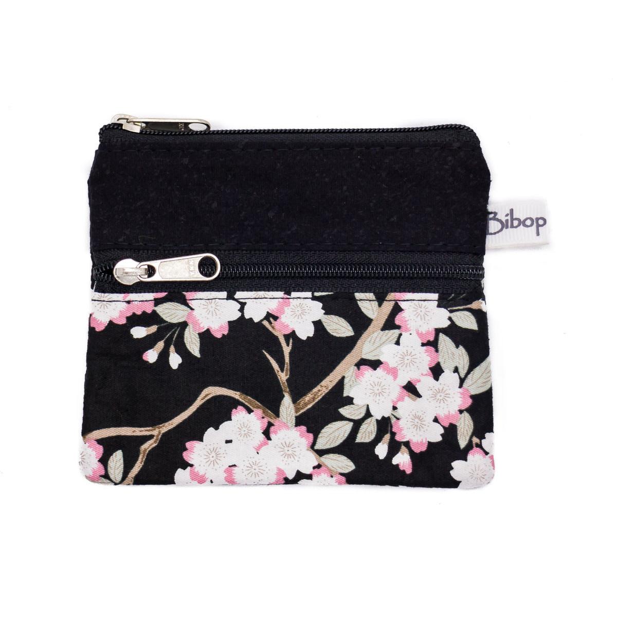 Petit porte-monnaie deux compartiments noir et fleurs cerisiers
