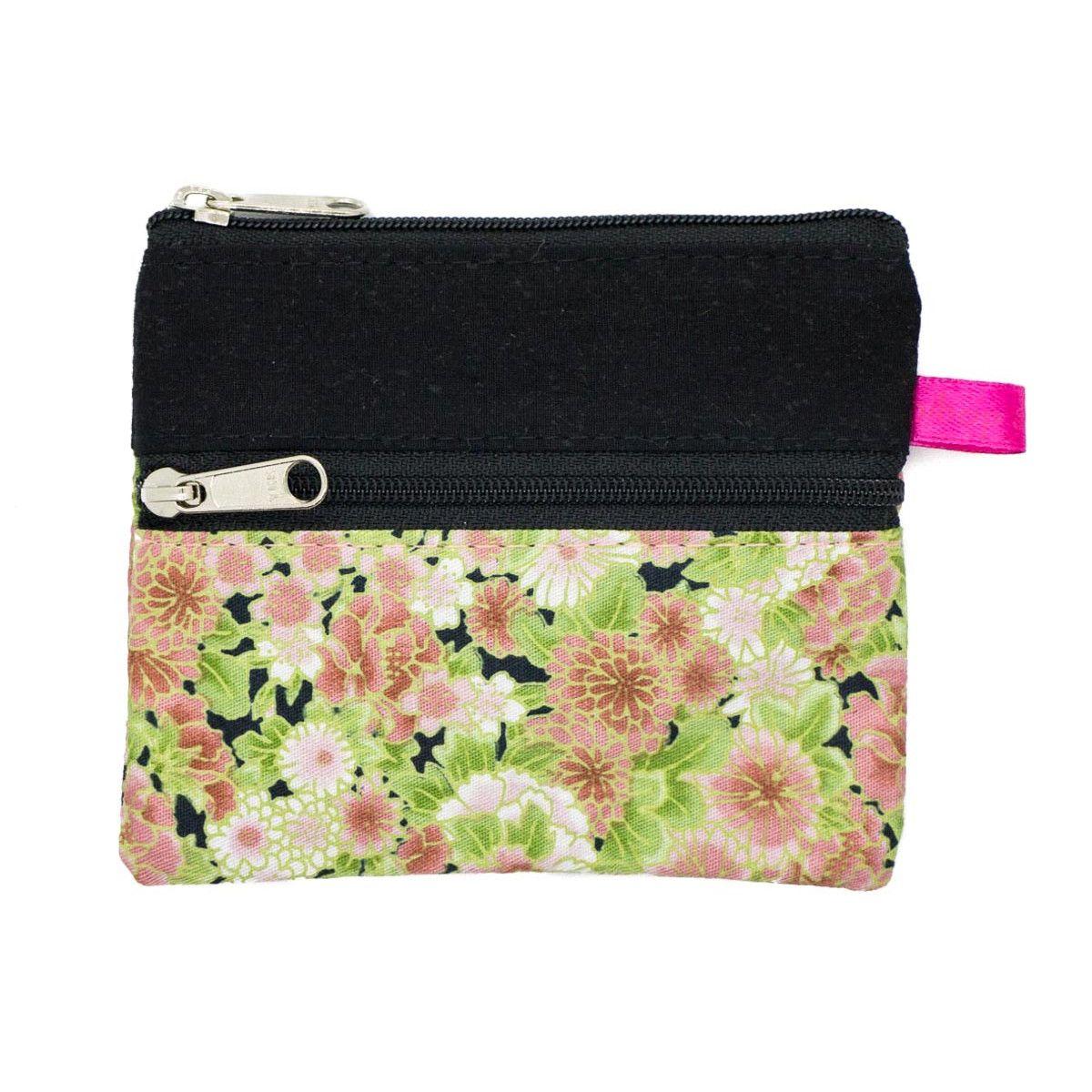 Petit porte-monnaie deux compartiments noir et fleurs vert rose