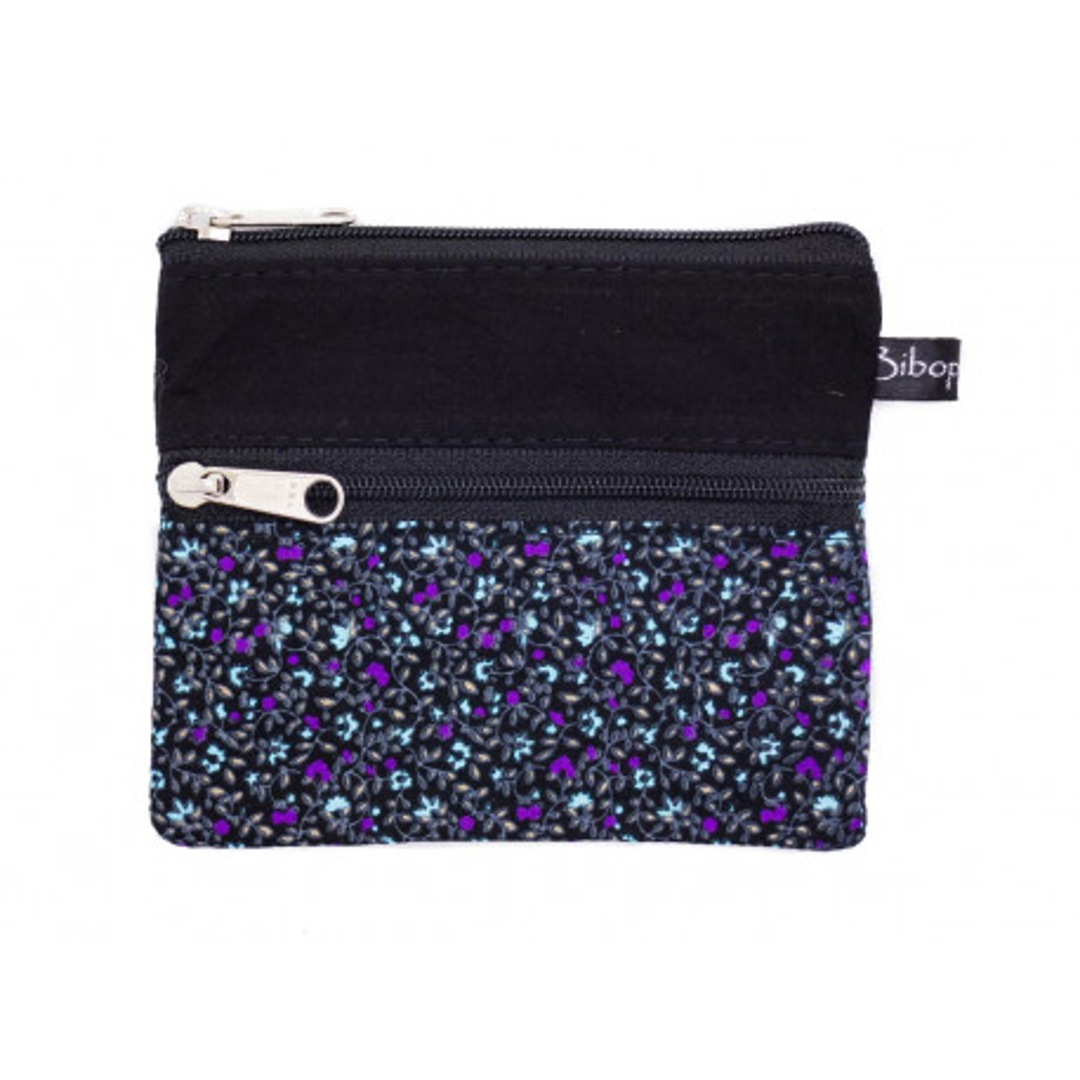 Petit porte-monnaie deux compartiments noir et fleurs violet