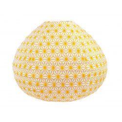 Lampion tissu boule japonaise goutte jaune moutarde et blanc