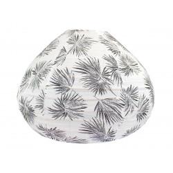 Lampion tissu boule japonaise goutte blanc et feuilles palmier noir