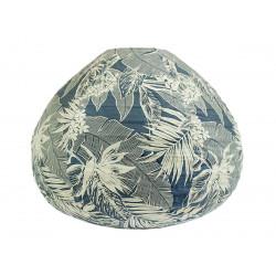 Lampion tissu boule japonaise goutte gris bleu et feuilles