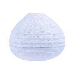 Lampion tissu boule japonaise goutte blanc brodé et ajouré