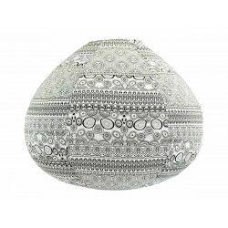 Lampion tissu boule japonaise goutte blanc et noir
