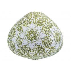 Lampion tissu boule japonaise goutte blanc et motifs verts