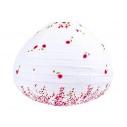 Lampion tissu boule japonaise goutte blanc et fleurs rose framboise