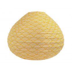 Lampion tissu boule japonaise goutte blanc et jaune moutarde