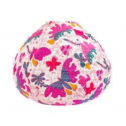 Lampion tissu boule japonaise goutte papillons roses
