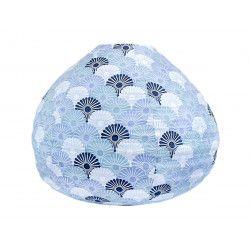 Lampion tissu boule japonaise goutte bleus