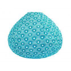 Lampion tissu boule japonaise goutte bleu pétrole