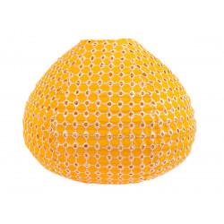 Lampion tissu boule japonaise goutte jaune ajouré