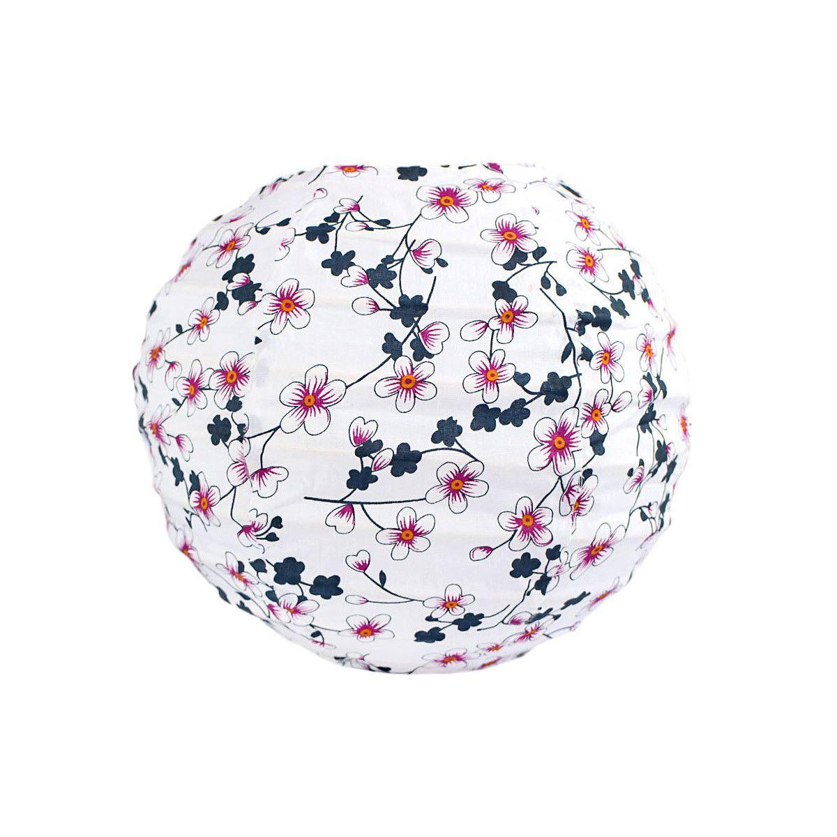 Lampion tissu boule japonaise mini rond blanc et fleurs cerisiers