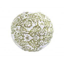 Lampion tissu boule japonaise mini rond blanc et motifs verts