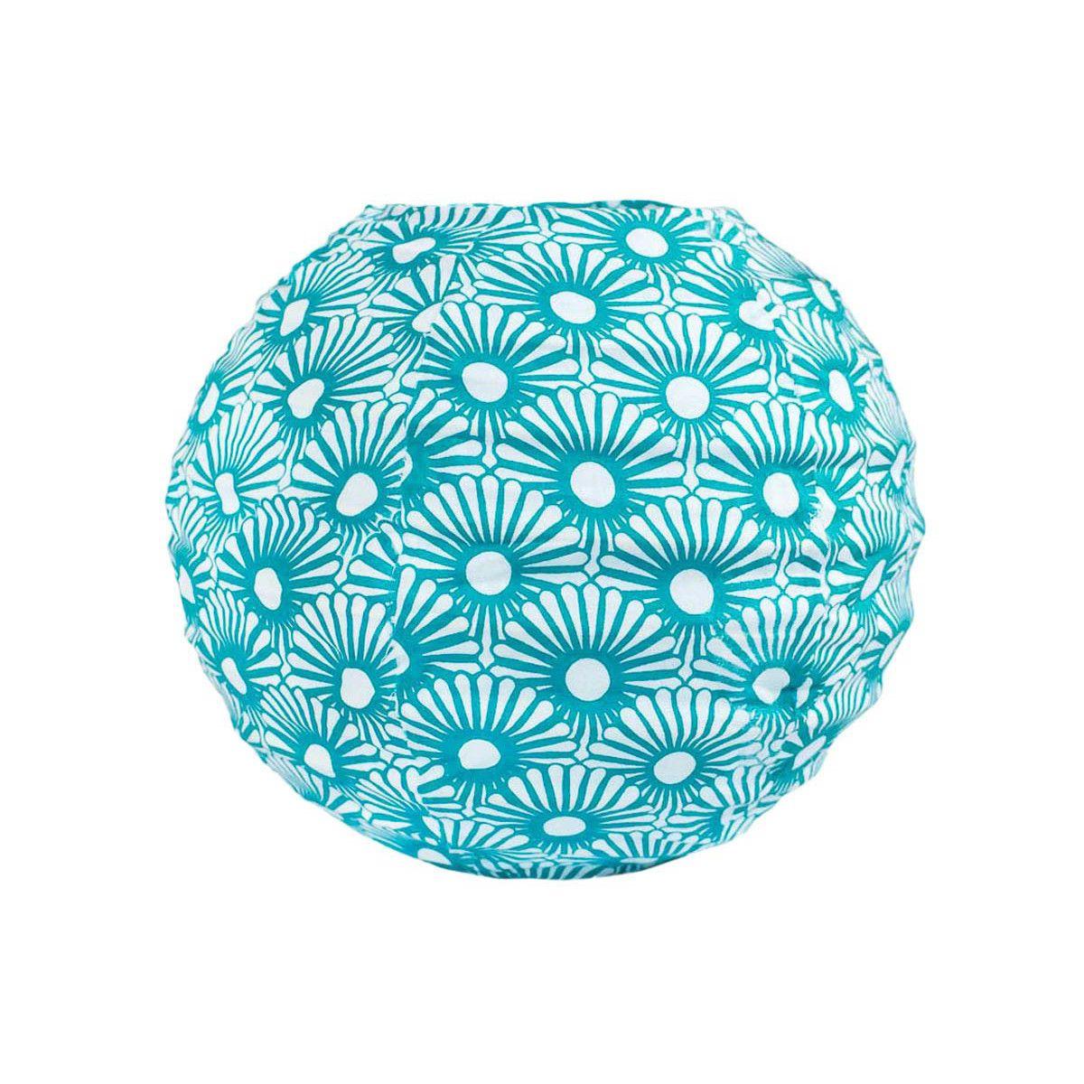 Lampion tissu boule japonaise mini rond bleu pétrole