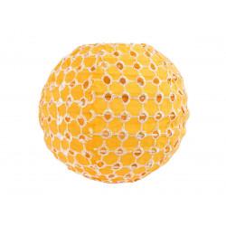 Lampion tissu boule japonaise mini rond jaune ajouré