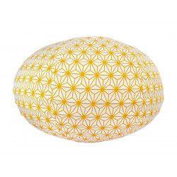 Lampion tissu boule japonaise ovale Asanoha moutarde