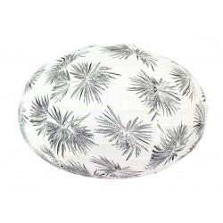 Lampion tissu boule japonaise ovale blanc et feuilles palmier noir