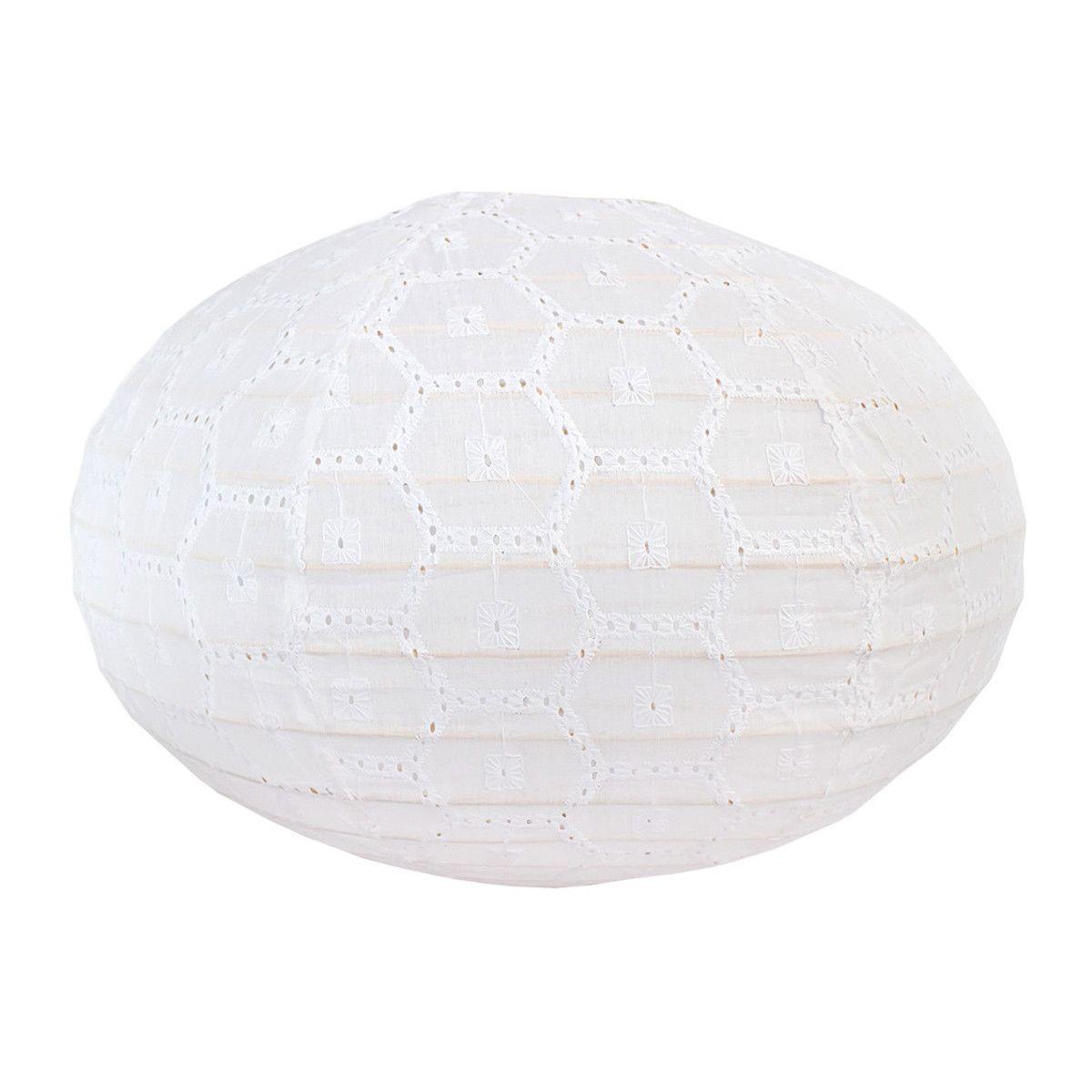 Lampion tissu boule japonaise ovale blanc brodé et ajouré