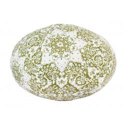 Lampion tissu boule japonaise ovale blanc et motifs verts
