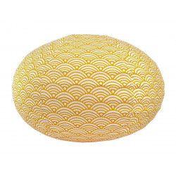 Lampion tissu boule japonaise ovale blanc et jaune moutarde