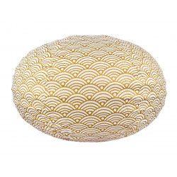 Lampion tissu boule japonaise ovale blanc et jaune or gold