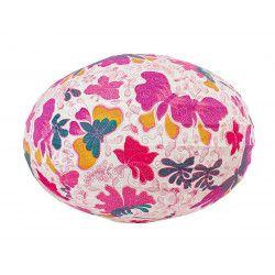 Lampion tissu boule japonaise ovale papillons roses