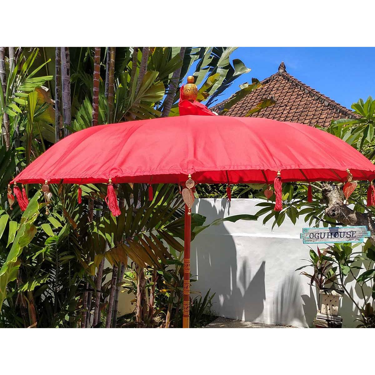 Parasol balinais toile polyester rouge