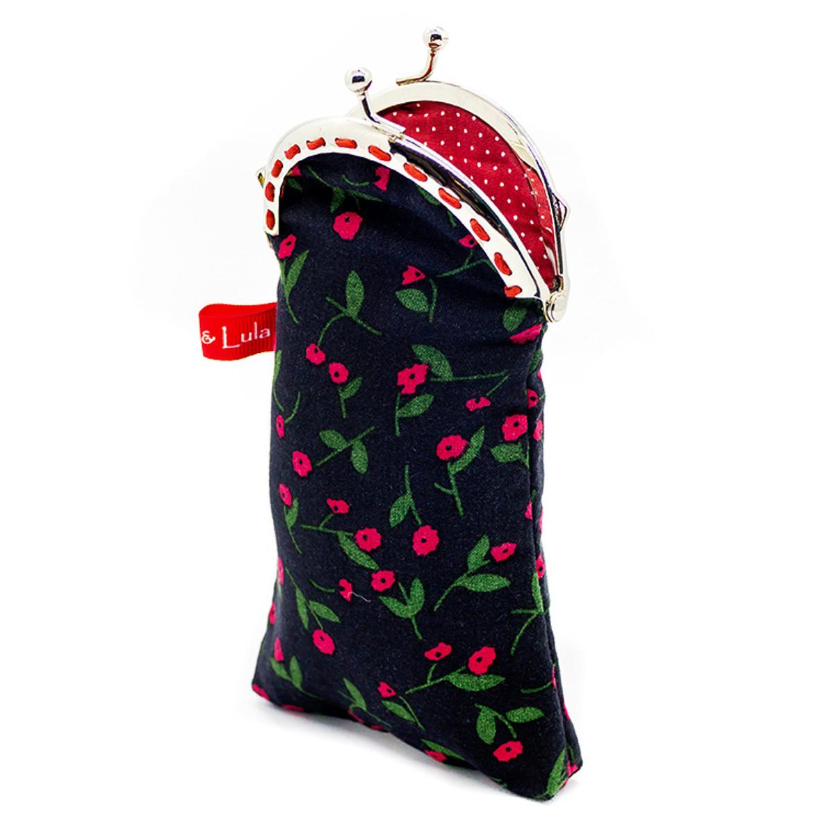 Etui à lunettes coton noir et fleurs rouge fraise